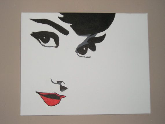 AUDREY HEPBURN painting Hand Painted on Canvas  by SportsRingKing