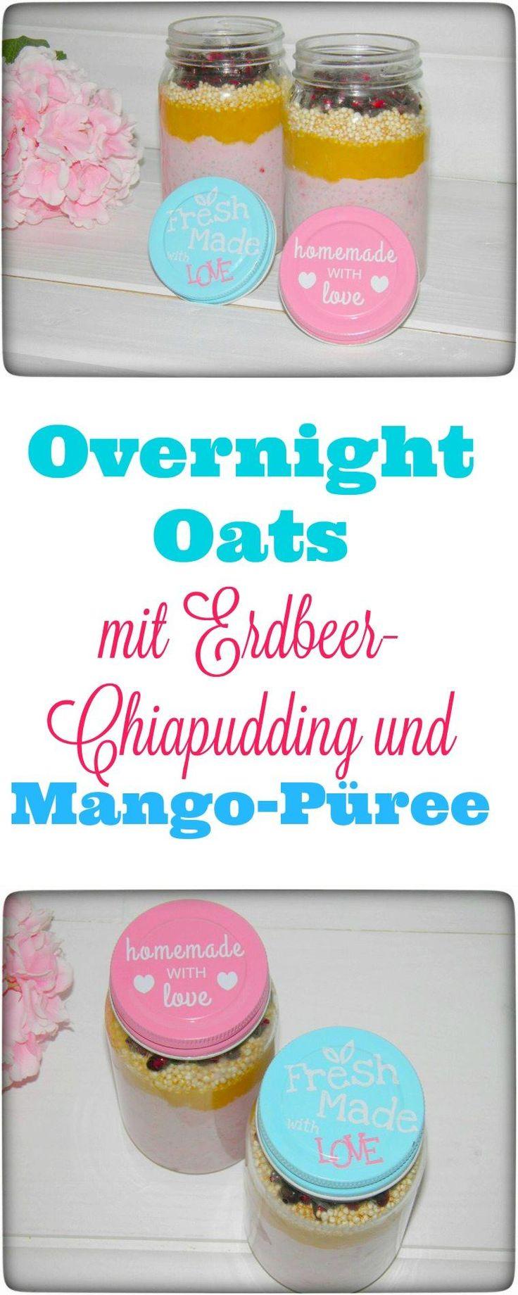 Overnight Oats aus Erdbeer-Chiapudding mit Kokosmilch und Mango. Hört sich das nicht schon geschrieben lecker an? Eine wunderbare To-go Alternative für die Arbeit. Ich liebe Chia.  #chia #overnightoats #frühstück