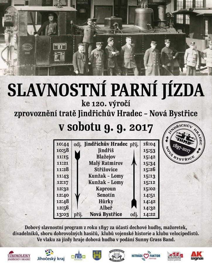 Dear guests, dear friends. On the occasion of the 120th anniversary of the Jindřichův Hradec - Nová Bystřice line, a festive steam ride takes place on Saturday 09.09.2017.