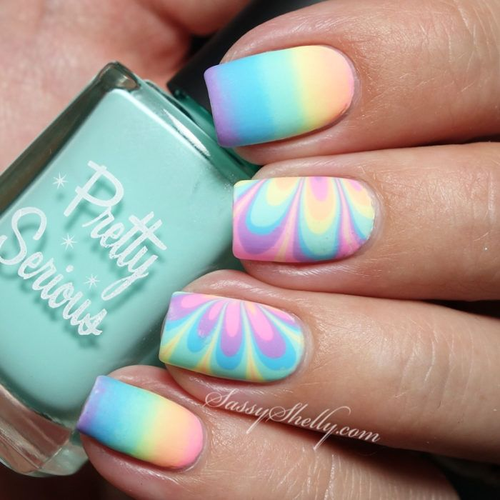 Rainbow Nails! Watermarble and Gradient Nail Tutorial with Pretty Serious Pet Names - pastel neon indie polish | Sassy Shelly