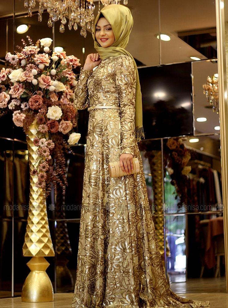 Esra Sequin Evening Dress - Gold - Pınar Şems