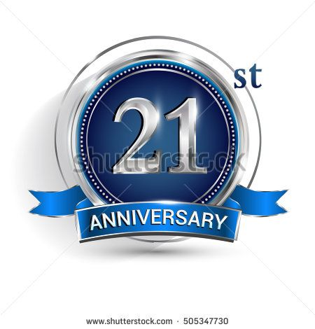 Celebrating 21st anniversary logo, with silver ring and blue ribbon isolated on white background.