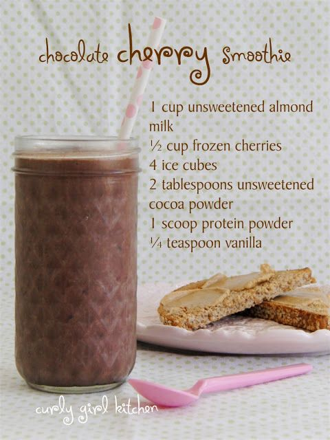 healthy chocolate cherry smoothie...