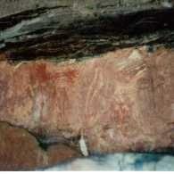 Handprints, long neck turtle, barramundi, european man with pipe
