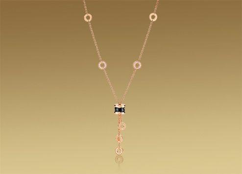 bulgari bzero1 necklace in 18 kt pink gold with black ceramic and pav diamonds