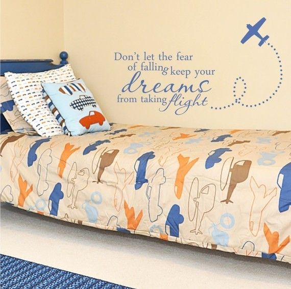 plane decal - dreams quote - love this for boy's room! - lola decor etsy.com