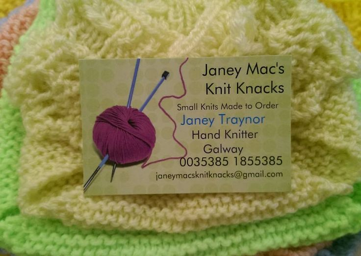 Janey Mac's Knit Knacks business card
