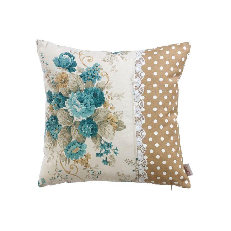 Light Brown and White Ploka Dot Cushion