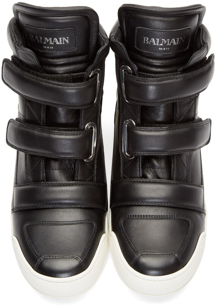 Balmain Black Leather Velcro High-Top Sneakers