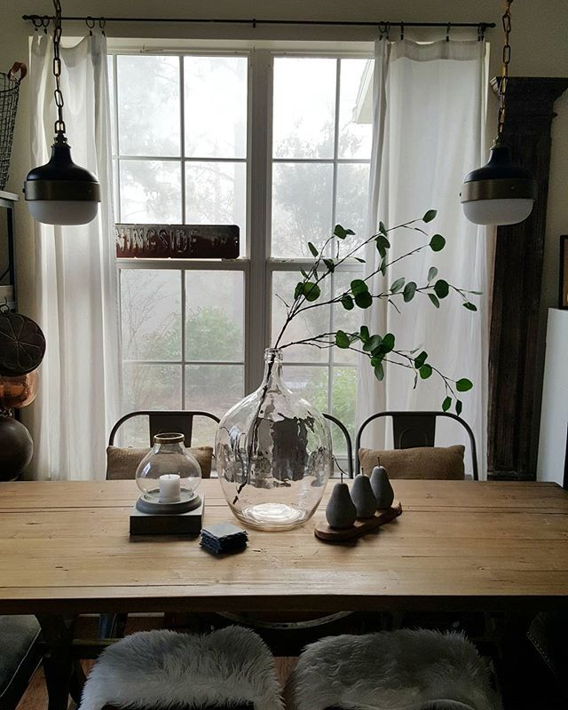 Industrial Lighting Rustic Farmhouse Decor Wood Dining Room Table And Oversized Glass Bottle