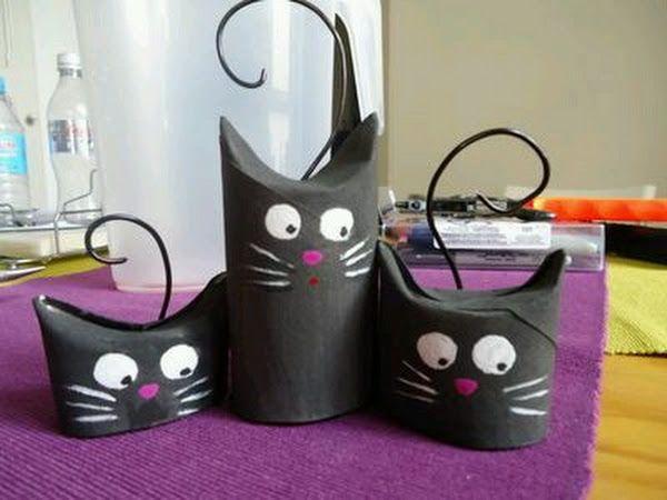 Gatos decorativos. Feitos com rolinhos de papel higiênico. #AcheiMeigo                 Imagem: http://pin.it/y0Aj_fI - Lucy Machado. - Google+