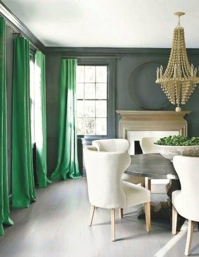 Emerald is 2013's color of the year! An easy way to incorporate it into your home is through fabrics and accessories, including curtains! Love this look