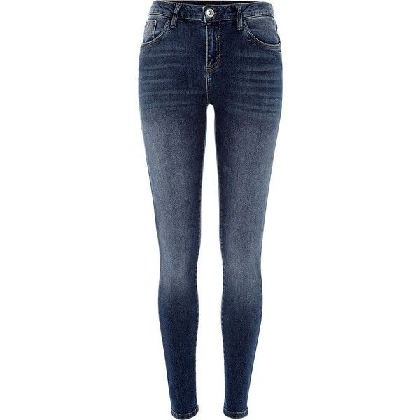 River Island Medium wash Amelie reform superskinny jeans (67 AUD) ❤ liked on Polyvore featuring jeans, pants, bottoms, river island jeans, river island, medium wash jeans, mid-rise jeans and blue jeans