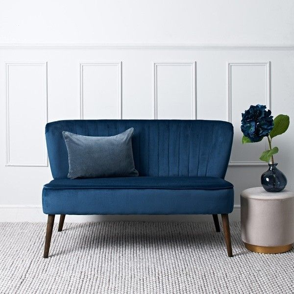 Roxy Two Seater Cocktail Sofa Blue Velvet Small Chair For