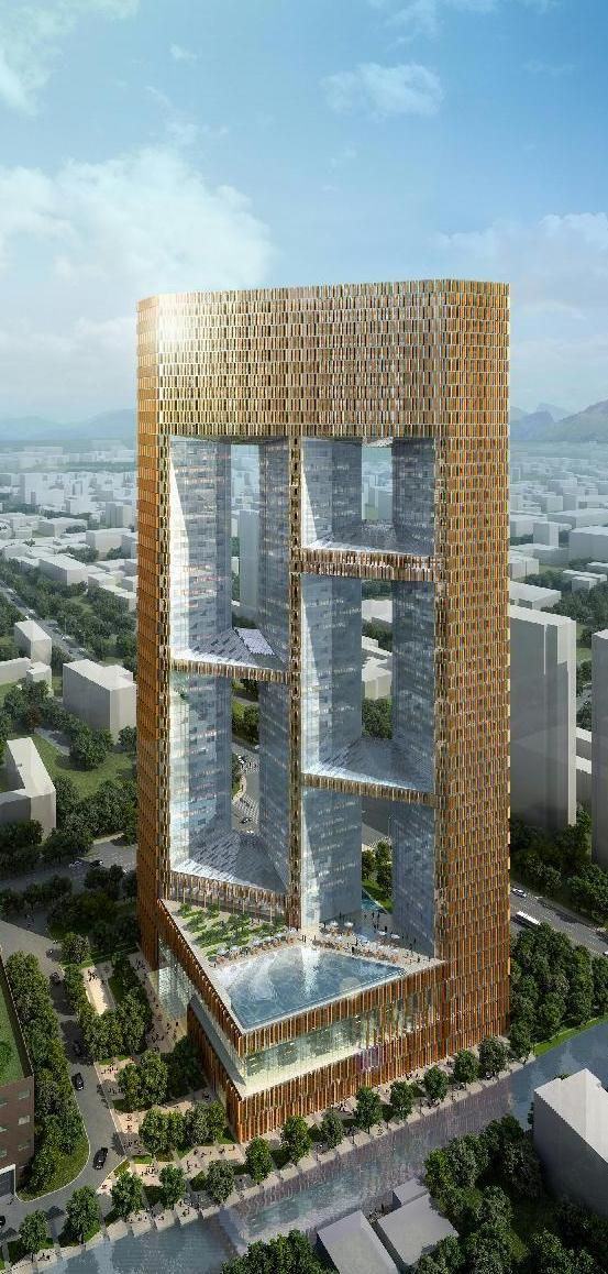Crowne Plaza Hotel, Cixi, Ningbo, Cahina by Skidmore Owings & Merrill :: 53 floors, height 208m, proposal