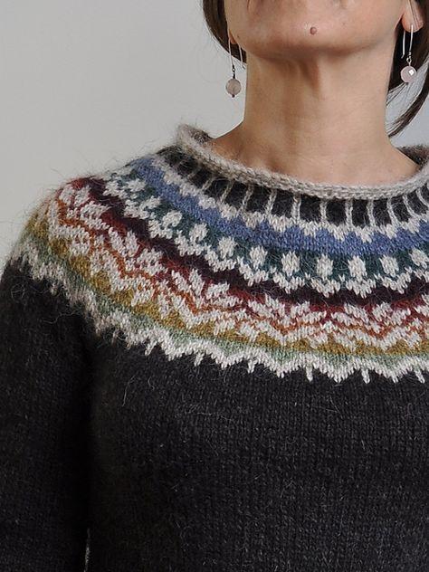 Ravelry: anneleterme's L o p i- using Afmæli - 20-year anniversary sweater by Védís Jónsdóttir. Free pattern. Lovely colours!