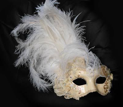 "White mask ""bride"" with plumes.  Hand-made papier-mâché mask decorated with fabric, velvet,  brocade fabric, Swarovski and plume."
