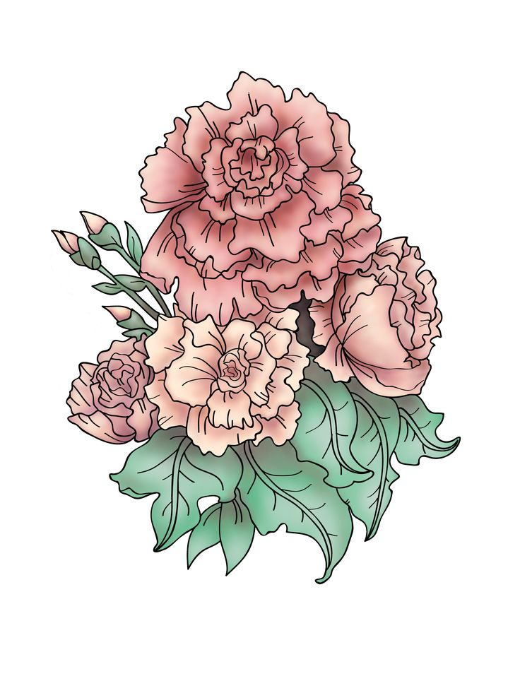 """Tattoo Design based on """"Still Life Of Carnations"""" by Emile Vernon."""
