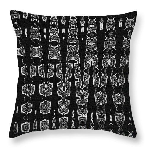 """Totem Pole Masks Abstract Throw Pillow by Tom Janca.  Our throw pillows are made from 100% spun polyester poplin fabric and add a stylish statement to any room.  Pillows are available in sizes from 14"""" x 14"""" up to 26"""" x 26"""".  Each pillow is printed on both sides (same image) and includes a concealed zipper and removable insert (if selected) for easy cleaning."""