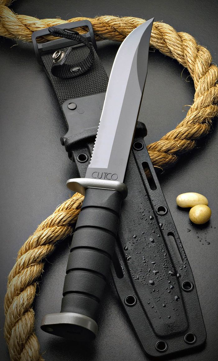 CUTCO Model 5725 KA-BAR Explorer Tactcal Fixed Survival Knife Blade with High Carbon Stainless 7 Blade with Combination straight- and Double-D® edge