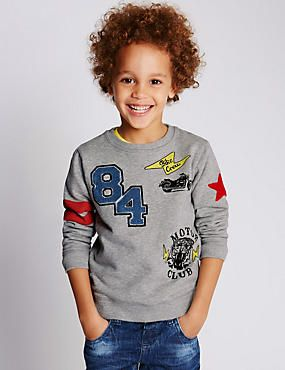 Pure Cotton Assorted Slogan Sweatshirt (1-7 Years)