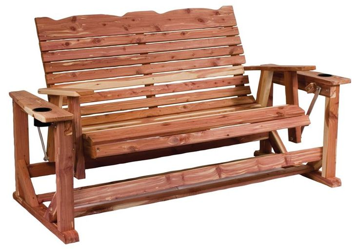 Amish Cedar Wood Straightback Deluxe Glider Take to your porch or patio in ultimate comfort with en eco friendly Amish Cedar Wood Straightback Deluxe Glider. This outdoor furniture is made with wood grown and harvested in the U.S.A.