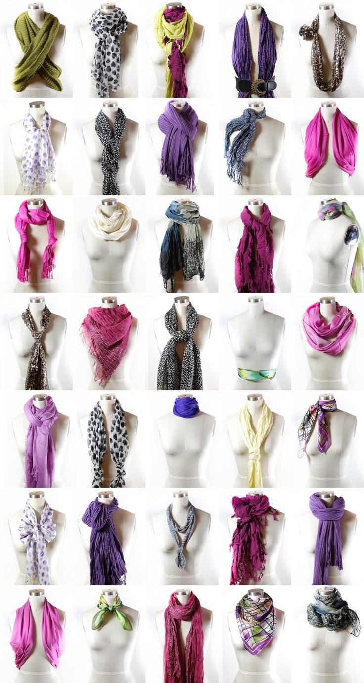 40 ways to tie a scarf via http://www.scarves.net/scarf-tying-index.html