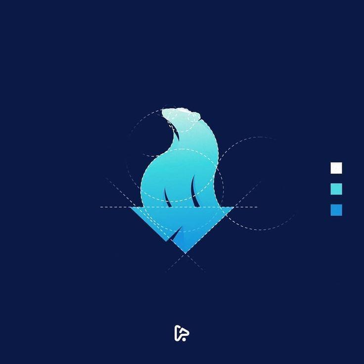 Nature Flatdesign: Design By @garagephicstudio . Polar Bear Logo Grid . Email