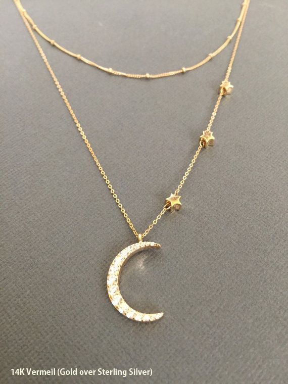 Simple everyday 18K gold plated over sterling silver star and CZ Embdedded crescent Moon charm Necklace on Gold fill chain. Perfect gift for mom or Grandmother. Little stars represents your children or grandchildren.  **Necklace in the picture is approx. 20 long. --------------------------------------------------------------------- *Available in 14K Vermeil** https://www.etsy.com/listing/252577023/i-love-you-to-the-moon-and-back-gold?ref=shop_home_active_5  *Star measures approx. 5mm *Moon…