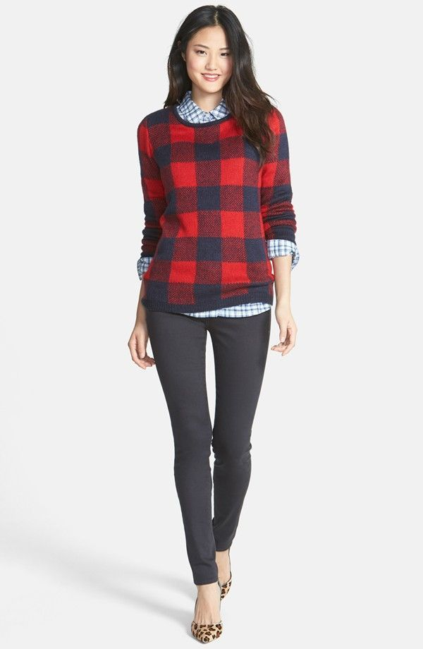 Women 39 s red plaid crew neck sweater white and blue Womens red tartan plaid shirt