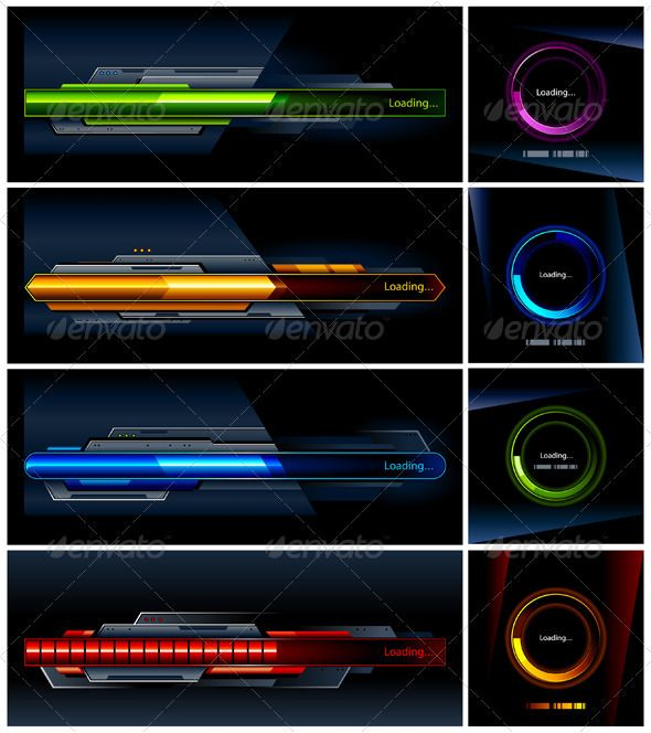 Vector set of high-tech progress indicators  #GraphicRiver         Vector set of high-tech progress indicators. ALL TEXT IS CURVE !     Created: 21July11 GraphicsFilesIncluded: VectorEPS Layered: Yes MinimumAdobeCSVersion: CS Tags: art #bar #circle #collection #color #computer #connect #data #design #digital #download #element #fill #futuristic #glossy #high #internet #loading #percent #progress #set #status #symbol #tech #technology #test #time #vector #wait #web