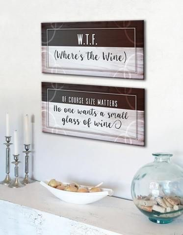 Kitchen Decor Wall Art Where\u0027s The Wine Funny 2 Piece Set (Wood