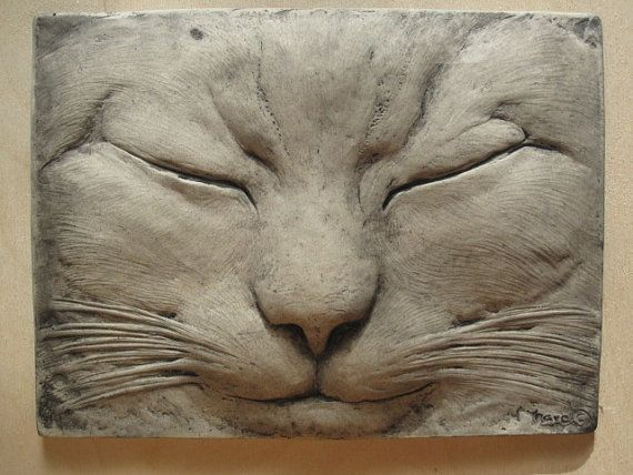 Max the Sleeping Cat Sculptured Tile by SculptureGeek on Etsy, $69.95 MAKE FOR MY MOM FOR BIRTHDAY.