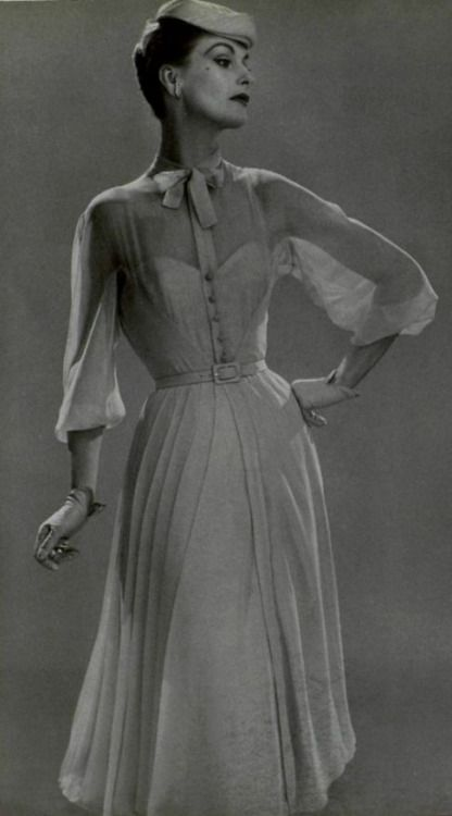 Dress with buttons and sheer detail, 1954 | Jean Desses