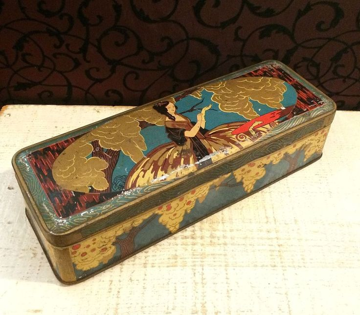 Antique French Art Nouveau Tin Box Lady Gloves Hoop Skirt C1910 1920  Vintage   EBay