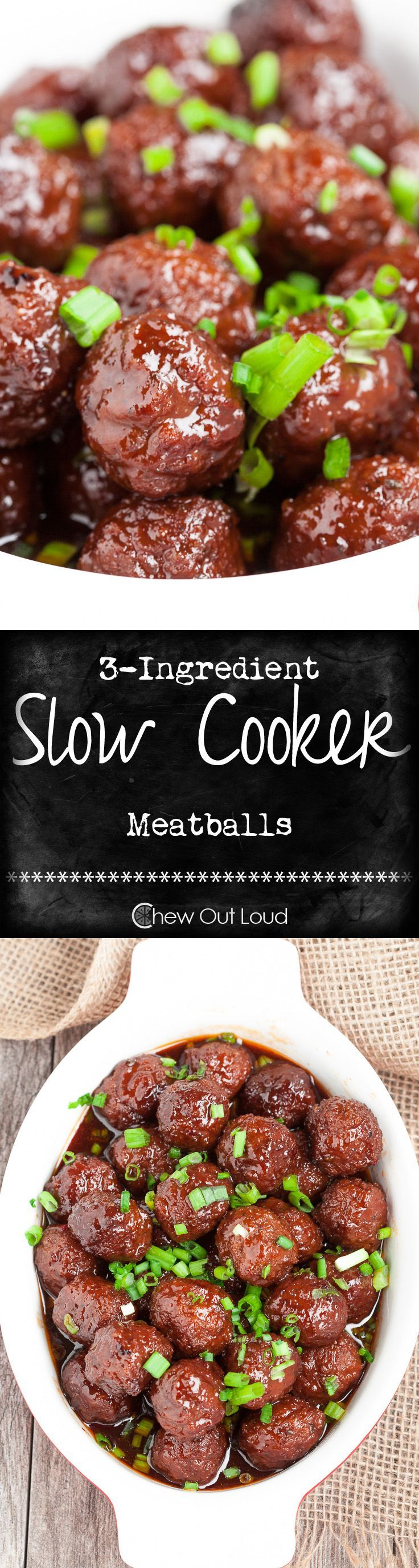 3-Ingredient Slow Cooker Meatballs - Incredibly easy, scrumptious recipe for any party appetizer!  We even pour it over pasta and rice for dinner...YUM!