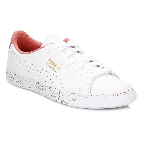 Womens White Rose Court Star Vulc Remastered Trainers ($52) ❤ liked on Polyvore featuring shoes, sneakers, white sneakers, leather upper shoes, rose shoes, white shoes and rosette shoes