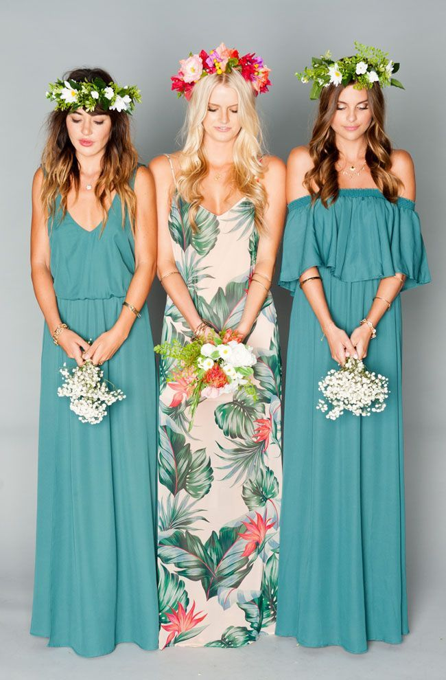 Show Me Your Mumu green boho bridesmaid dresses