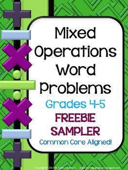 #sharethewealth #aneducatorslife FREE- Mixed Operation Common Core Word Problem FREEBIE: Grade 4-5
