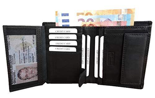 0e0f469f7f9f6 Premium RFID Geldbeutel Herren - Leder Geldbörse Herren schwarz ...