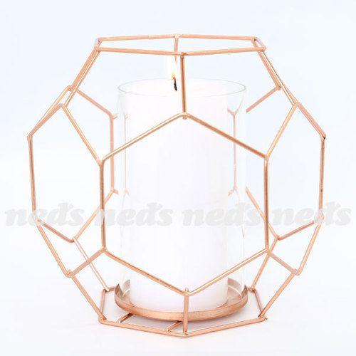 Copper Coloured Candle Holder - Hexagon Design