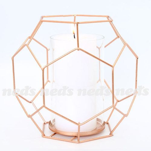 Copper Coloured Candle Holder - Hexagon Design