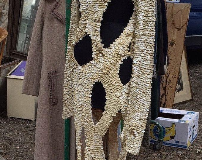 Paco Rabanne style, abito da sera, abito da sposa 1970, vintage, paillettes