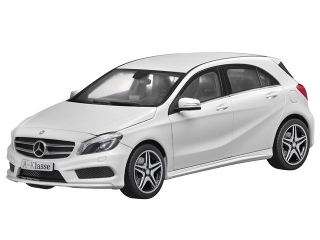 A-Class cirrus white - B66960126 Mercedes-Benz A-Class (W176), AMG Sports package, in various genuine paintwork colours. Diecast zinc. Scale 1:18. Accurate reproduction based on original CAD data. Detailed, high-quality printed interior. Hand-assembled model, made up of over 100 individual parts. Doors, bonnet and tailgate open. Interior and load compartment flock-lined. ILS headlamps, integral seats type 3, privacy windows, 45.7 cm (18-inch) 5-twin-spoke AMG alloy wheels. Supplied with…