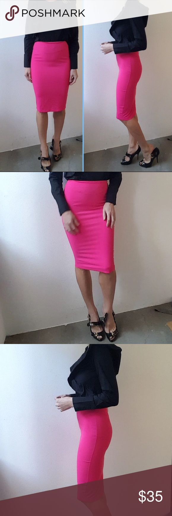 Spring sleek Hot pink Kardashian pencil skirt xs I wore this for one scene in a supporting role as a reporter in a film and it had a jacket that went with it but production could only give me the skirt so I haven't worn it since.  If you work in fashion or print your love this piece because super flattering and perfect for making a subtle statement well showing off a great body in a demure way. Mint condition it was just worn for one scene and has been dry cleaned xs .i'm waste 26 and 35…