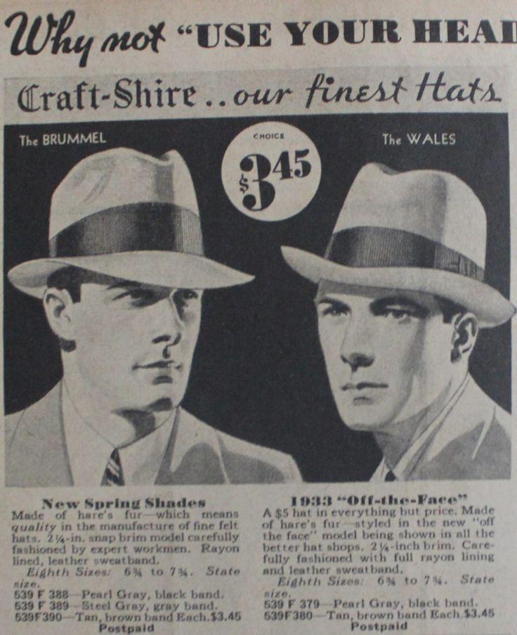 1930s mens hat fedora and homburg 1933