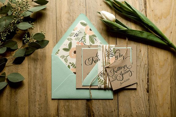 Rustic Wedding Invitation Mint & Kraft Wedding by FlairNecessities