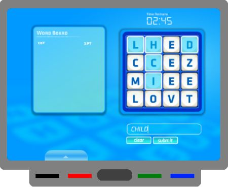 Wordshake game (similar to Boggle) for the SMARTBoard