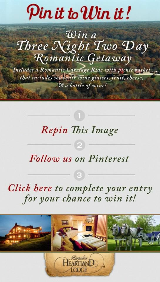 Repin+and+click+the+image+for+your+chance+to+#win+a+4+night+3+day+#Romantic+#Getaway+at+Harpole's+Heartland+Lodge+-+#heartlandlodgecontests+-+http://l.inkto.it/9284!