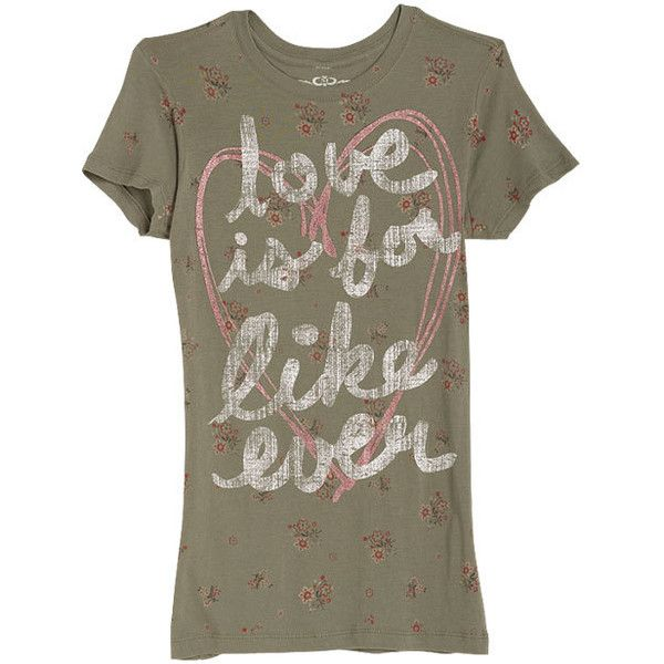 For Like Ever Tee ($9.99) ❤ liked on Polyvore featuring tops, t-shirts, shirts, delia's, graphic tees, graphic design shirts, shirt top, brown t shirt, graphic shirts and graphic print tees